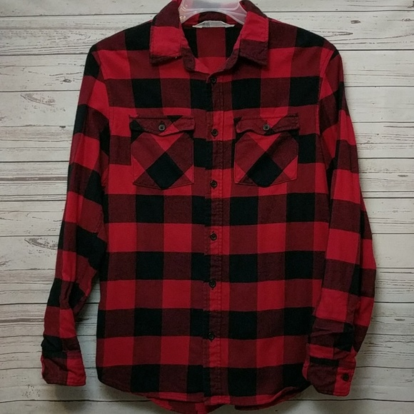 8aafc503763 H&M Buffalo Plaid Button Up Flannel Shirt Red Boys